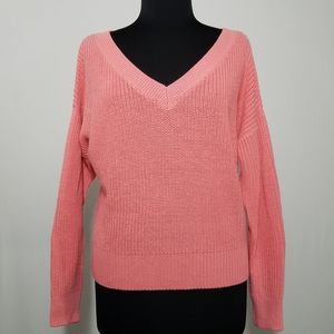 H&M Sweater Ribbed V-neck Coral Relaxed Collegiate